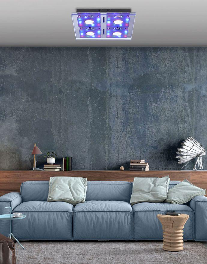 LED-Deckenleuchte, chrom, 30x30cm, Farbwechsel, Fernbedienung, RGB