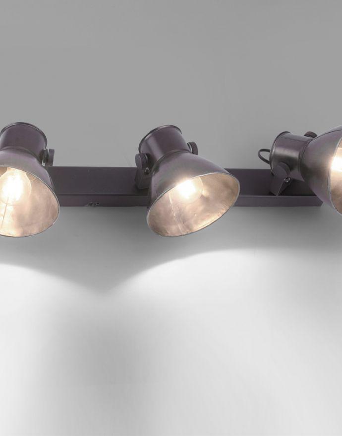 Deckenleuchte, Deckenstrahler, Retro, Industrial Design, metallic, 3x E27