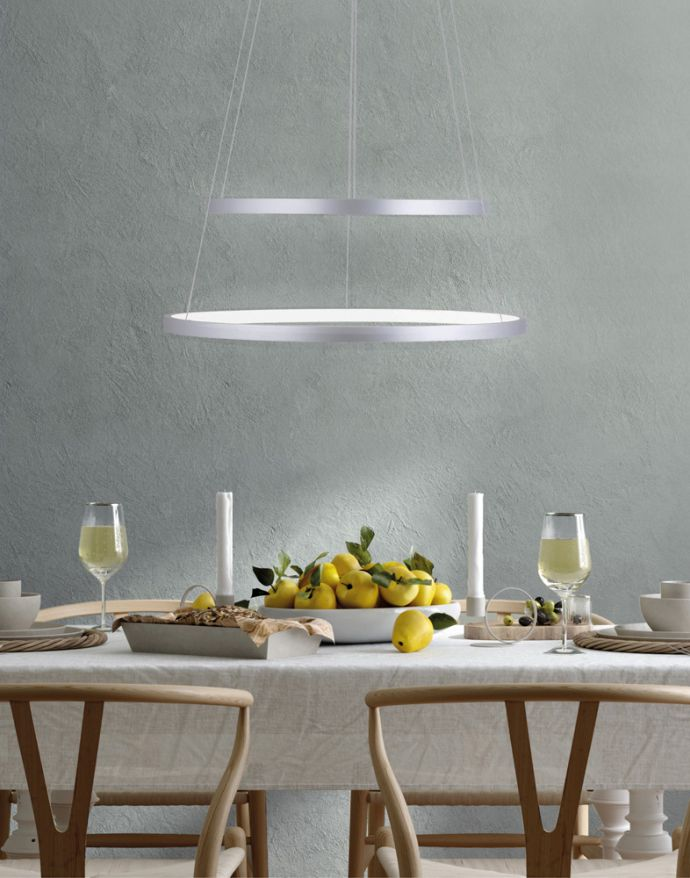 LED-Pendelleuchte, stahlfarben, 2-flammig, Ringleuchte, Ø 40+50cm, dimmbar