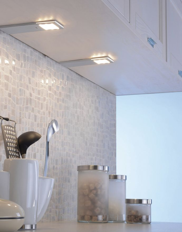 LED Unterbauleuchten, 2er Set, silber, Sensorschalter, energiesparend