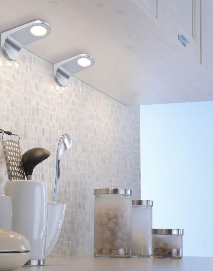 LED Unterbauleuchten, 2er Set, silber, modernes Design, inkl. Dimmfunktion