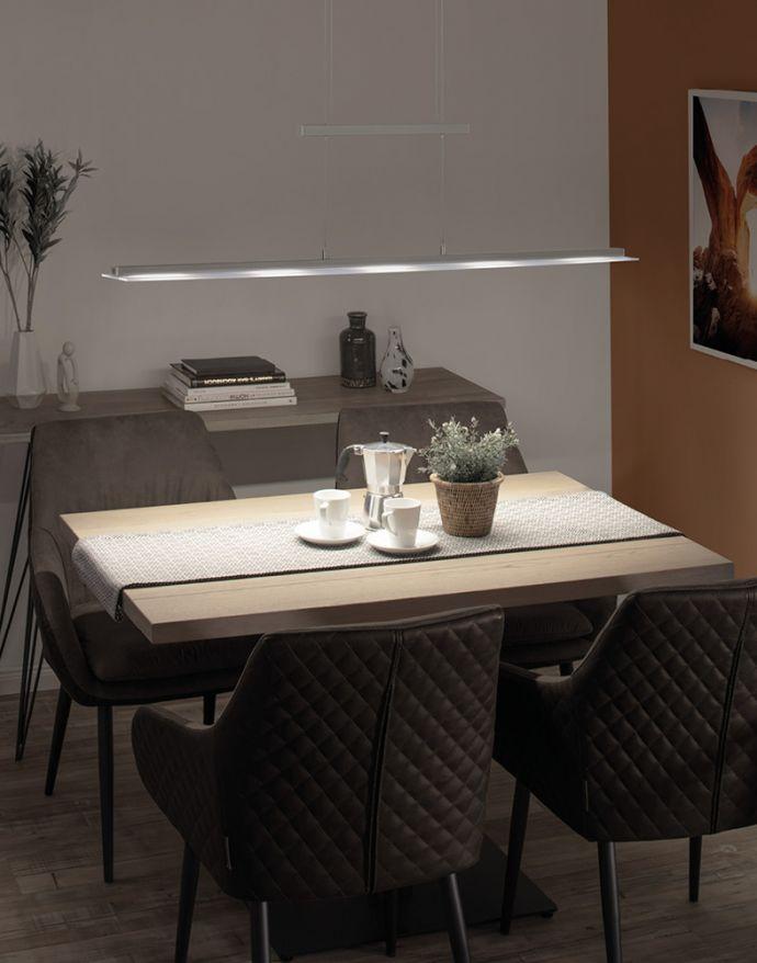 LED-Pendelleuchte, stahlfarben, höhenverstellbar, CCT-Steuerung, dimmbar