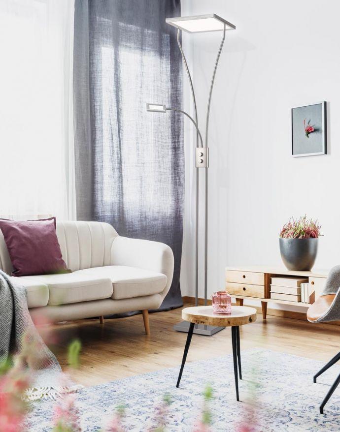 LED Deckenfluter mit Lesearm, modern, dimmbar, Drehdimmer, warmweißes Licht