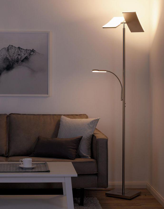 LED-Deckenfluter, stahlfarben, Lesearm, dimmbar, 180cm hoch