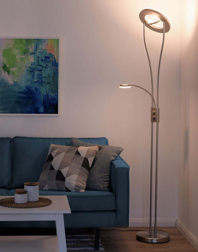 LED-Deckenfluter, stahlfarben, Leseleuchte, dimmbar, warmweißes Licht