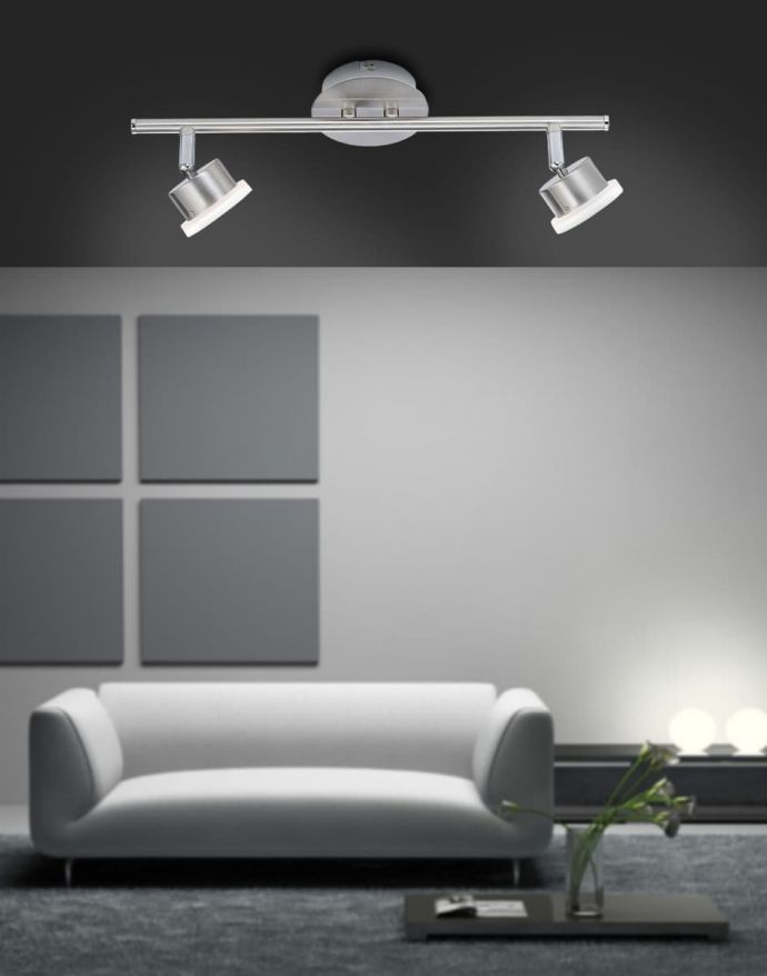 LED-Deckenstrahler, Stahl, 2 schwenkbare Spots, Switchmo Dimmfunktion