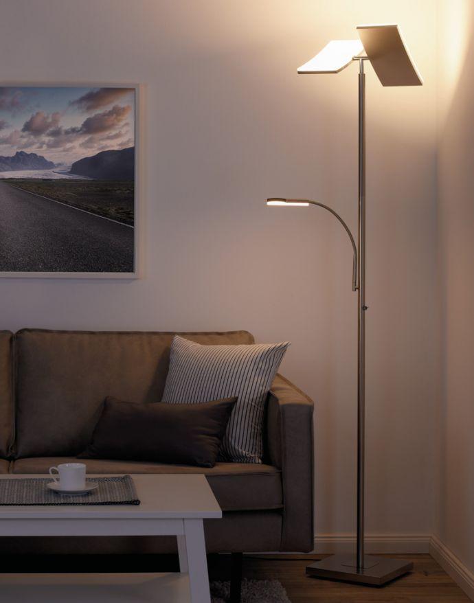 LED-Deckenfluter, Smart Home fähig, stahlfarben, Leseleuchte