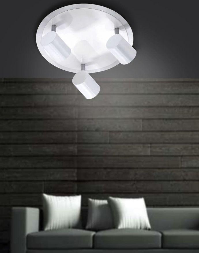 LED-Deckenleuchte, rund, weiß, 3 verstellbare Leuchtköpfe, warmweiß, modern