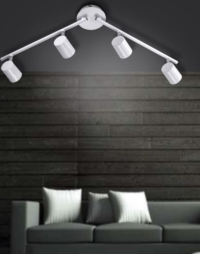 LED-Deckenleuchte, weiß, 4 verstellbare Leuchtköpfe, warmweiße Lichtfarbe
