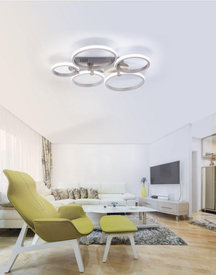 LED Deckenleuchte, stahlfarben, 5-flammig, modern, Ring, futuristisch