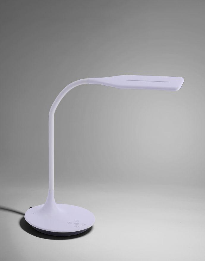 LED-Tischleuchte, weiß, Flexarm, Lichtfarbsteuerung, dimmbar