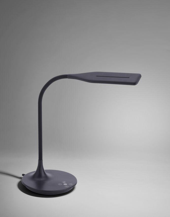 LED-Tischleuchte, schwarz, Touch-Dimmer, Lichtfarbsteuerung, modern