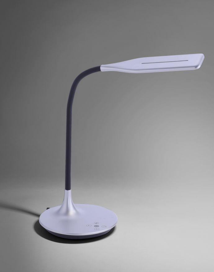LED-Tischleuchte, silber, Flexarm, Lichtfarbsteuerung, dimmbar