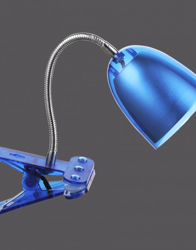 LED-Klemmleuchte, blau, verstellbarer Leuchtkopf, Schnurschalter, modern