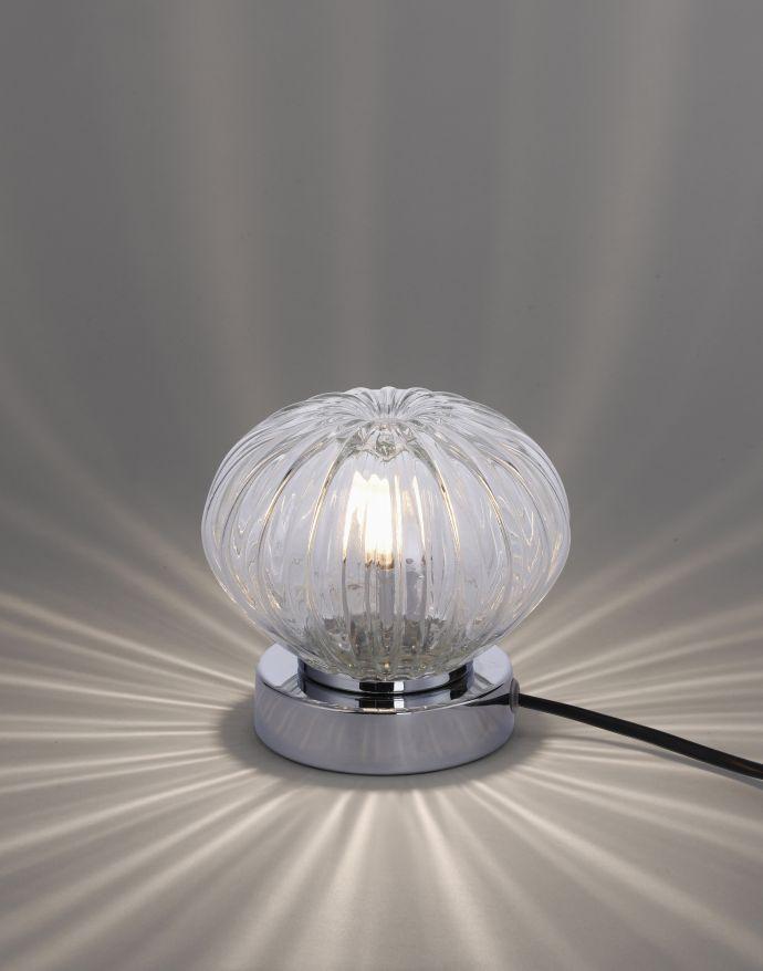 LED-Tischleuchte, Glas mit Musterung, warmweiß, inkl. Touchdimmer, modern