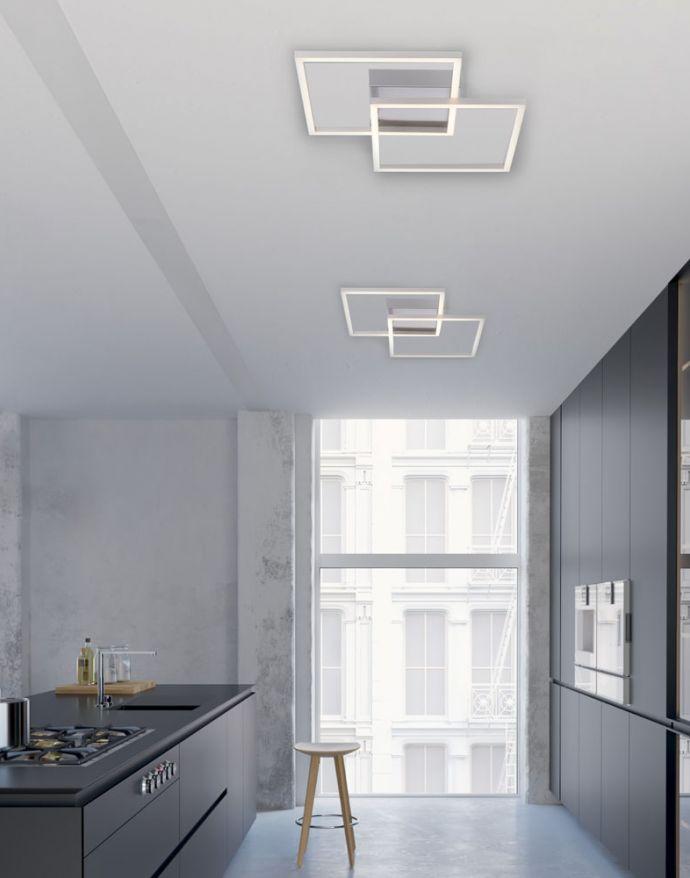 LED Deckenleuchte, stahlfarben, quadratisch, modern, energiesparend