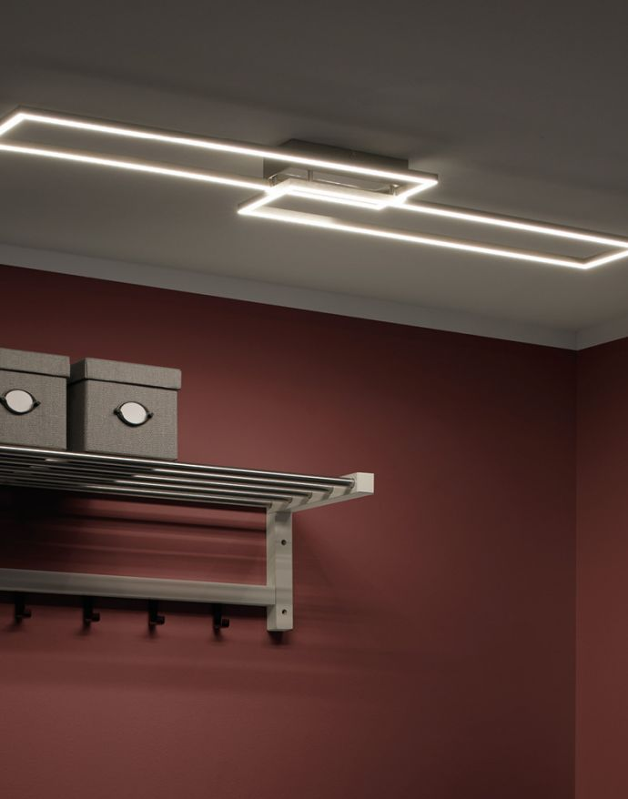 LED-Panel, stahlfarben, 2 Leuchtrahmen, dimmbar, modern