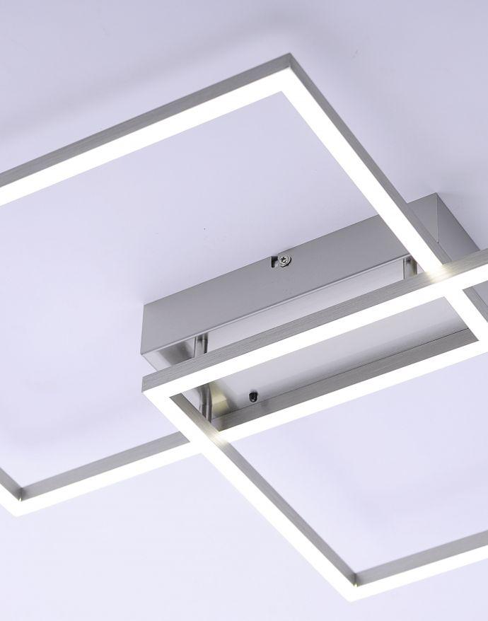 LED Deckenleuchte, stahlfarben, 2-flammig, dimmbar, geometrisches Design