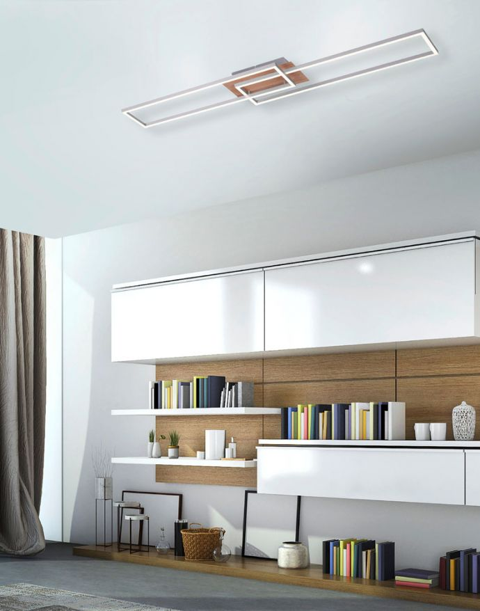 LED-Deckenleuchte, 110x25cm, Fernbedienung, dimmbar, Holzdekor, CCT Farbmanagement,