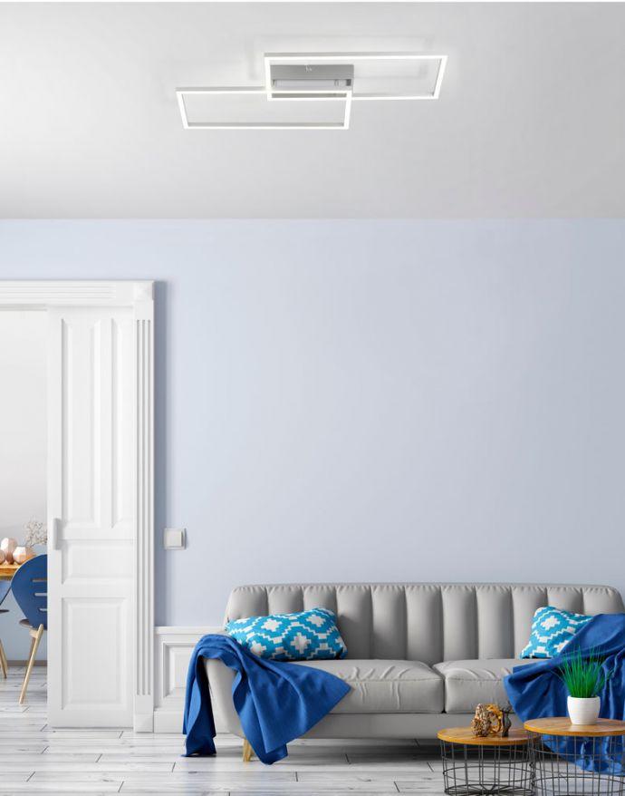 LED Deckenleuchte, stahlfarben, geometrisch, Lichtfarbensteuerung, dimmbar