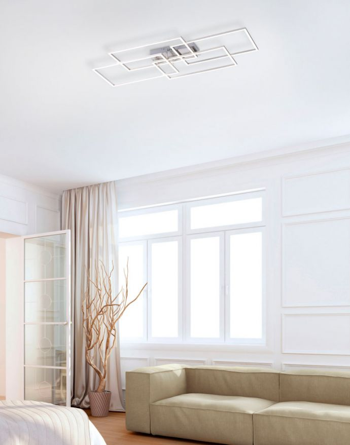 LED Deckenleuchte, stahlfarben, modernes Design, CCT-Steuerung, Flur