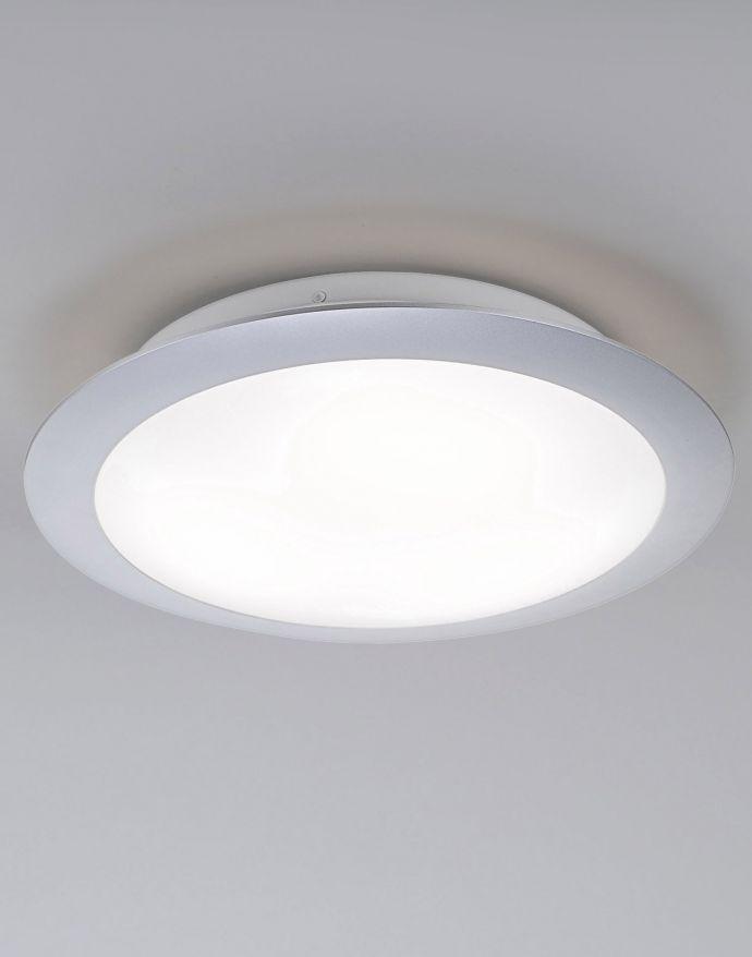 LED-Deckenleuchte, Ø30cm, weiß, warmweißes Licht, silbermatt, Kunststoffglas