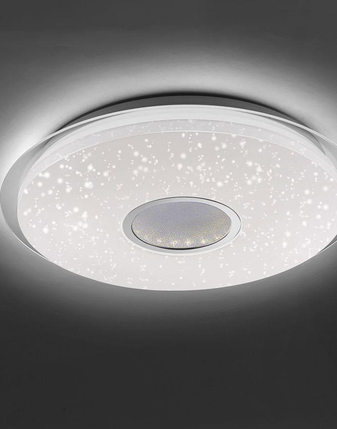 LED-Deckenleuchte, rund, Ø 41,6cm, Sternenhimmeldekor, dimmbar