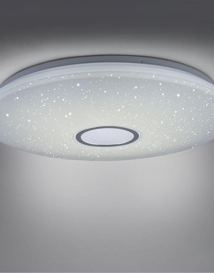 LED Deckenleuchte, Nachthimmel Optik, dimmbar, rund, Fernbedienung, modern