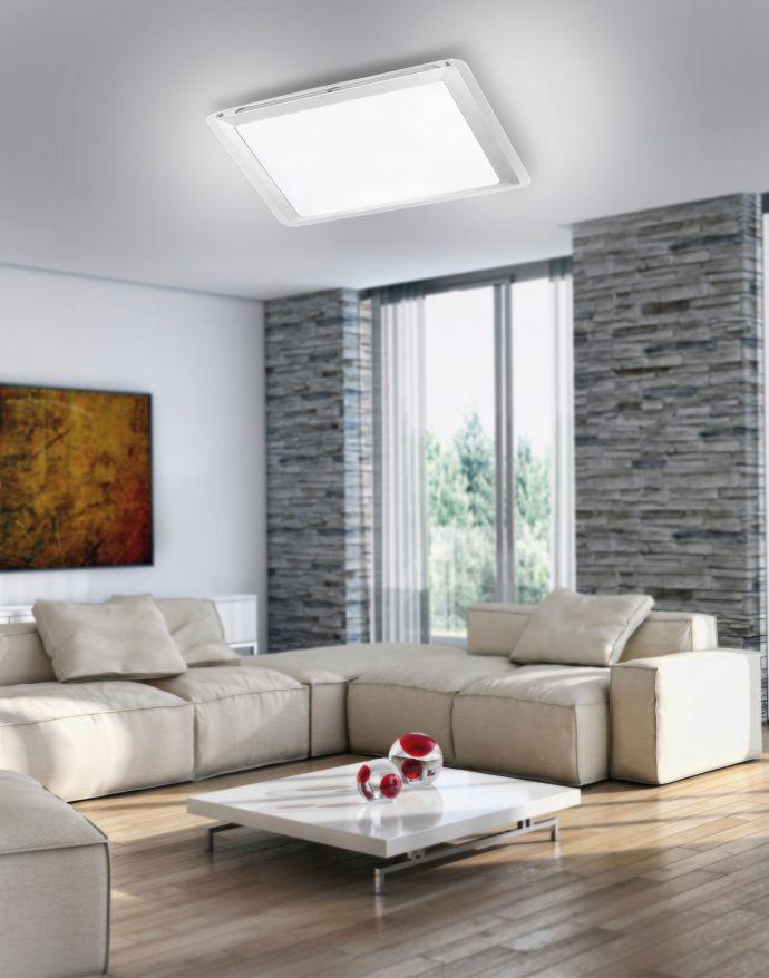 LED-Deckenleuchte, quadratisch, 33,5x33,5cm Acrylglas, spritzwassergeschützt