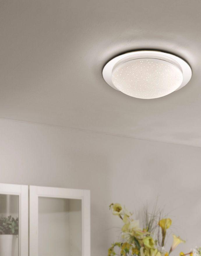 LED-Deckenleuchte, chrom, rund, Sternenhimmeloptik, Lichtfarbsteuerung