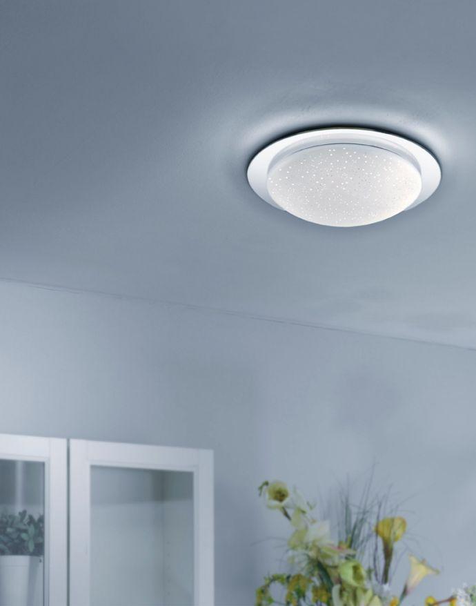 LED-Deckenleuchte, chrom, Sternenhimmeloptik, modern, inkl. Dimmfunktion