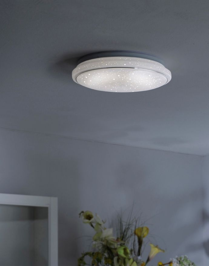 LED-Deckenleuchte,rund, Ø 44cm, Sternenhimmeloptik, Memory- und Dimmfunktion