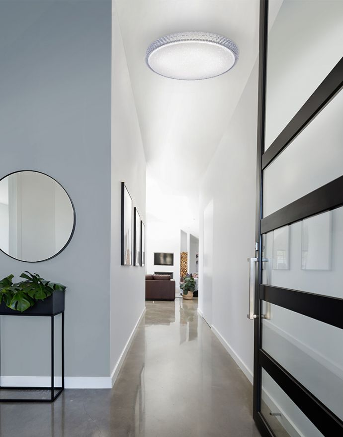 LED-Deckenleuchte, rund, Sternenhimmeloptik, CCT,  Ø 60cm, Kristallrand