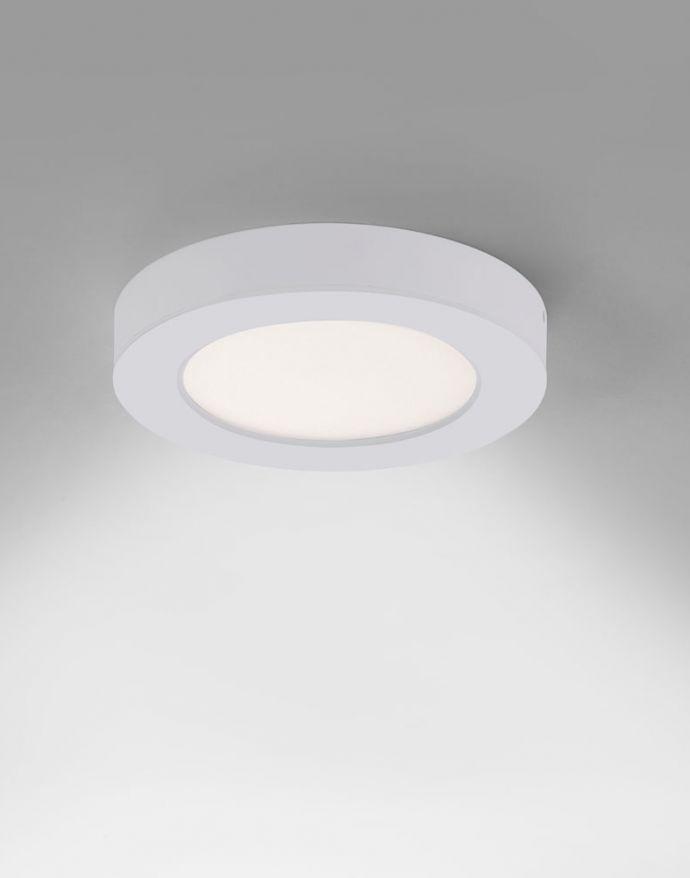 LED-Einbauleuchte, Aufbauleuchte, weiß, Ø15cm, weißes Kunststoffglas