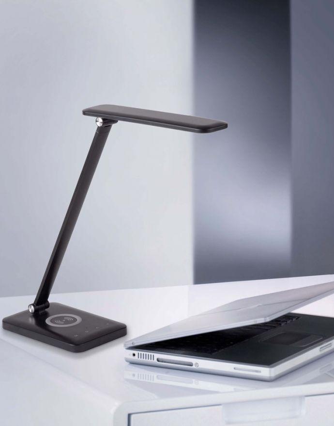 LED Tischluechte, schwarz, QI-Ladefunktion, Touchdimmer, CCT