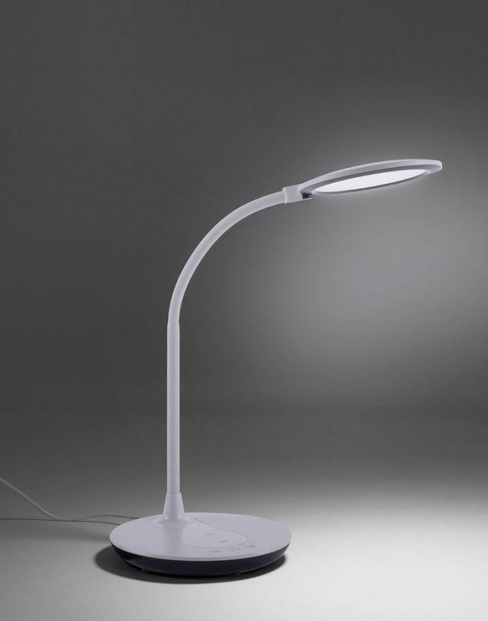 LED-Tischleuchte, weiß, Dimmbar, CCT, inkl. Ladestation für Smartphone