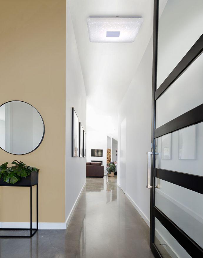 LED Deckenleuchte, Sternenhimmel, 60x60cm, weiß, dimmbar,