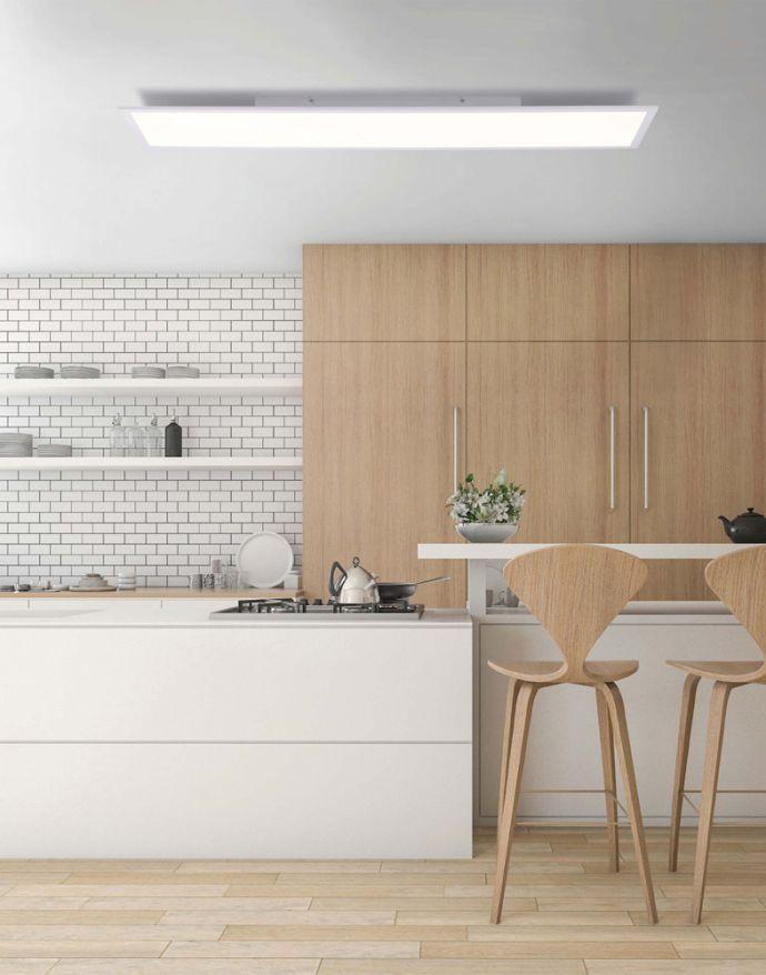LED-Panel, weiß, rechteckig, 120x30cm, dimmbar, Fernbedienung