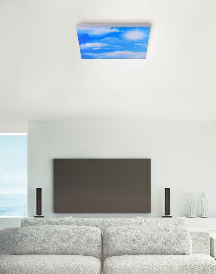 LED Panel, weiß, 45x45cm, Wolkenmotiv, rahmenlos, Lichtfarbsteuerung