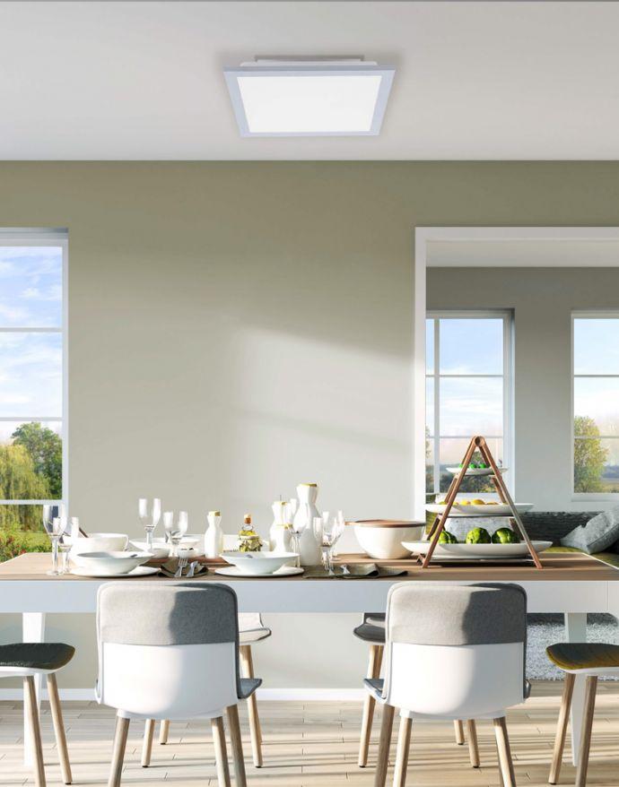 LED-Panel, 30x30cm, silber, Deckenleuchte, warmweiß, modern
