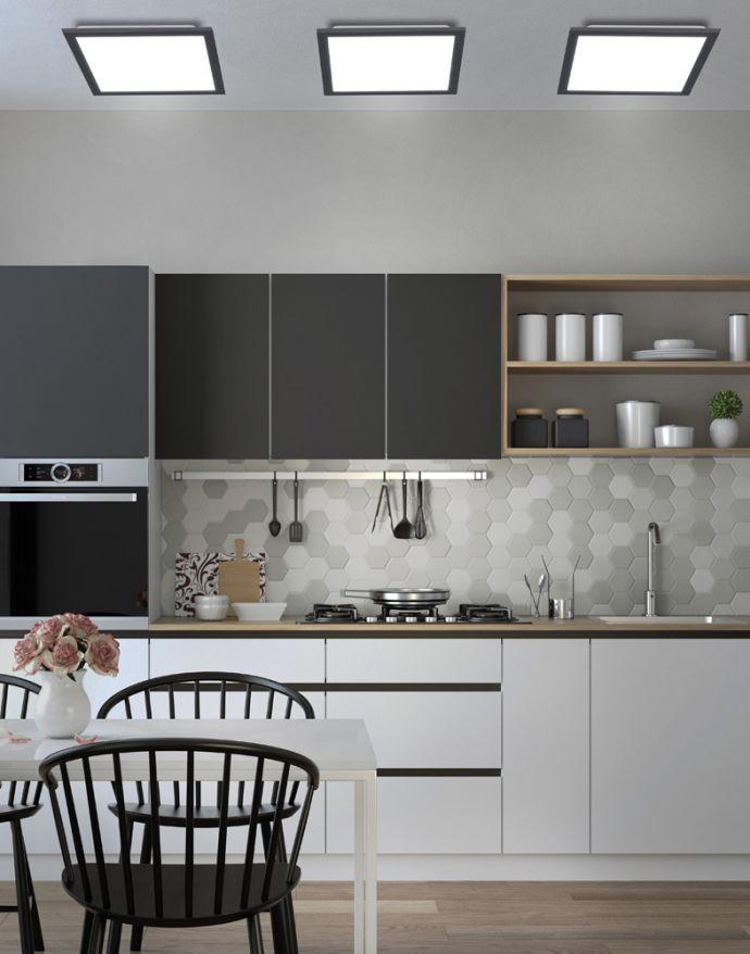 LED Panel, Rahmen schwarz, dimmbar, CCT Farbsteuerung, quadratisch, modern
