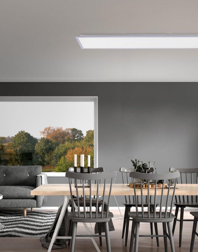 LED-Panel, Rahmen silberfarbig, 120x30cm, platzsparend, dimmbar