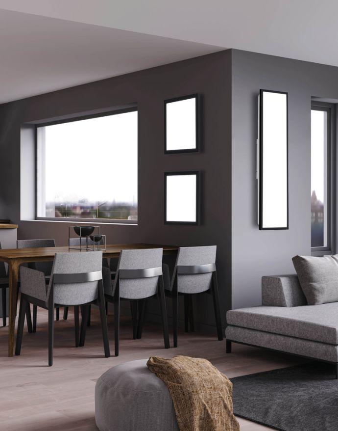 LED Panel, Rahmen schwarz, rechteckig, CCT, Fernbedienung, dimmbar, modern