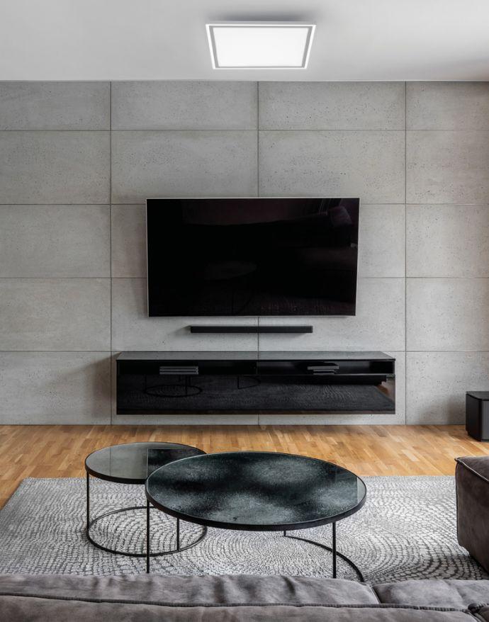 LED Panel, zus.Rahmenlicht, weiß, 30x30cm, Fernbedienung, getr.schaltbar