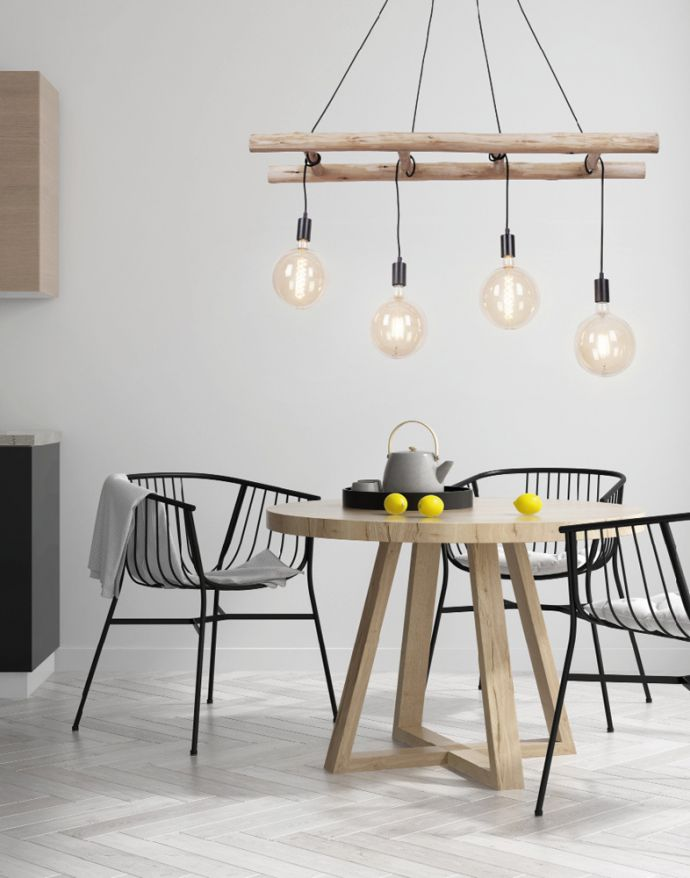 Pendelleuchte, schwarz, Retro Design, Holzleiter, 4-flammig, Eukalyptusholz