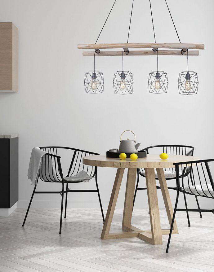 Pendelleuchte, schwarz, 5-flammig, Holzleiter, Retro Design, E27 Fassung