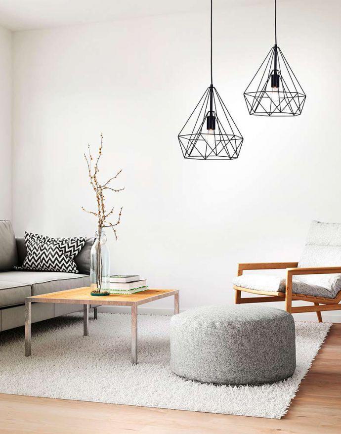 Pendelleuchte, schwarz, Industrial Stil, E27-Fassung, Cage-Optik, modern