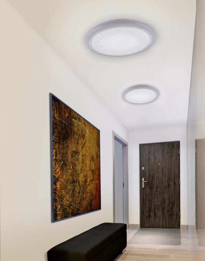 LED Deckenleuchte, rund, weiß, Sternenhimmeloptik, Ø 60cm, dimmbar