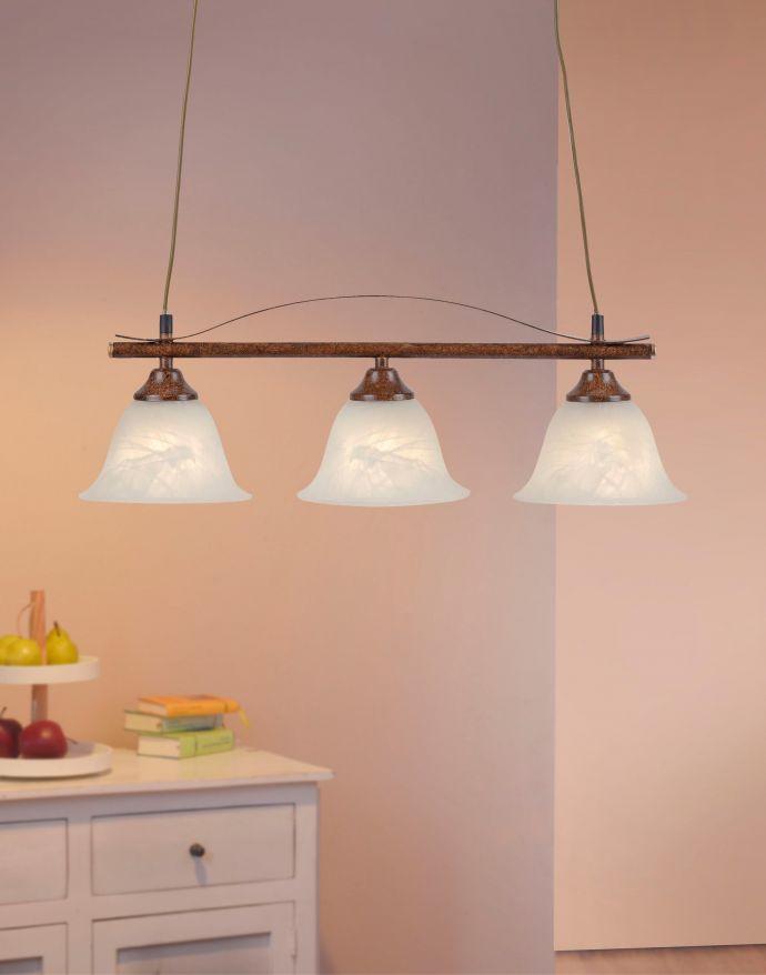 Pendelleuchte, rostfarben, Landhaus-Stil, 3-flammig, E14 Fassung