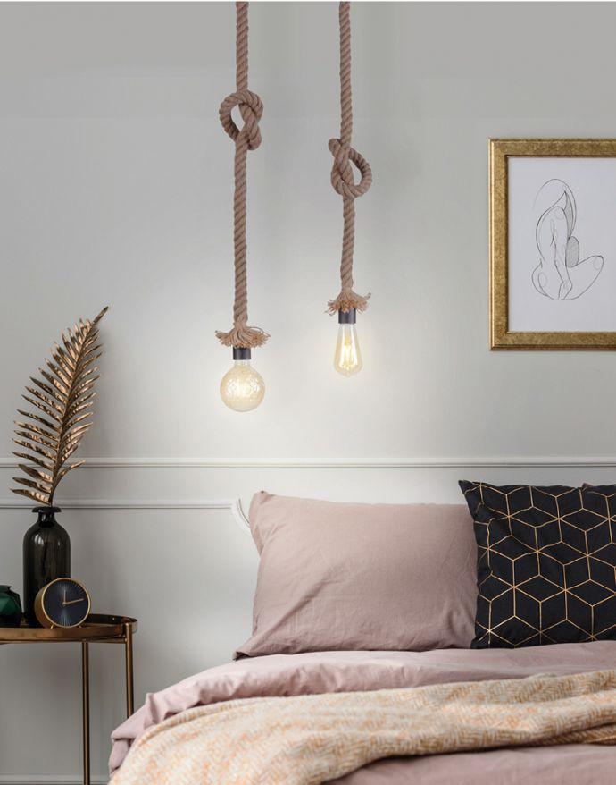 Pendelleuchte, Seil-Leuchte, Tau, maritimes Design, 2-flammig, E27 Fassung